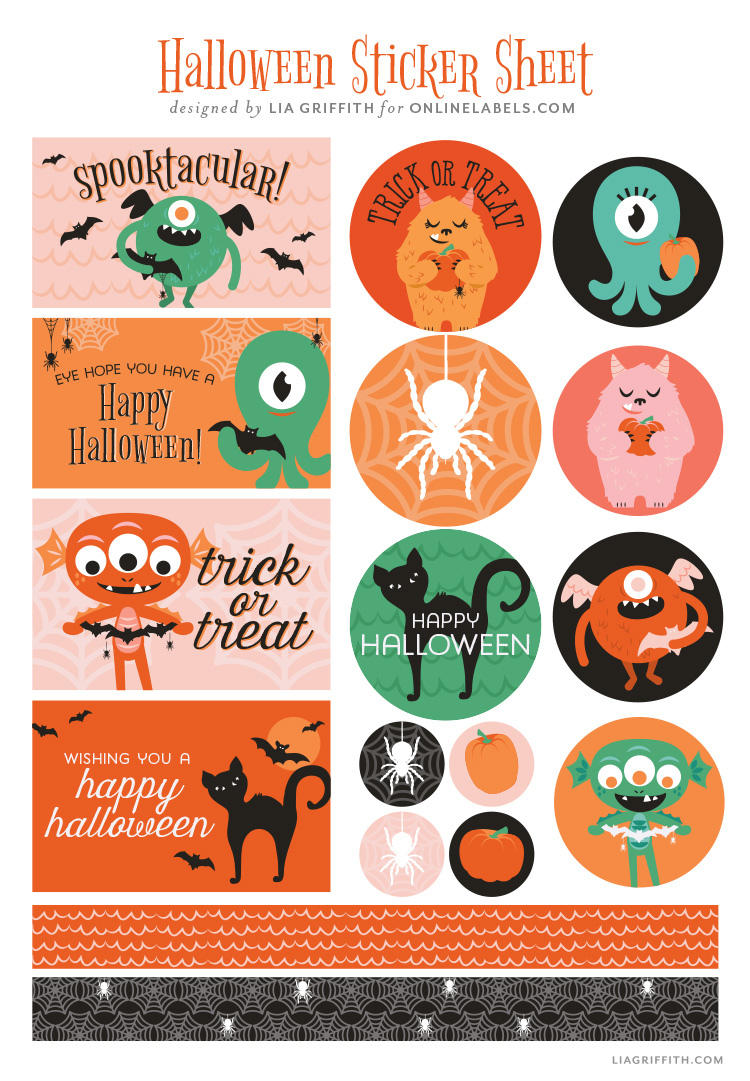 free Halloween sticker sheet by Lia Griffith