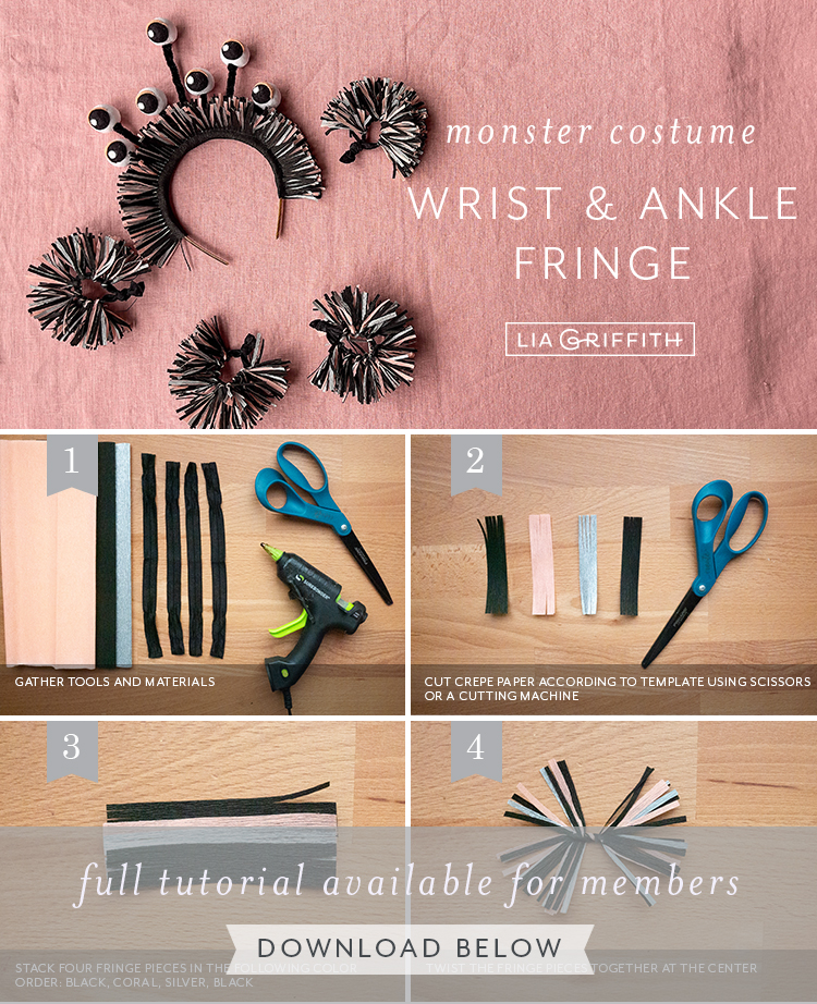 monster costume wrist and ankle fringe accessories tutorial by Lia Griffith