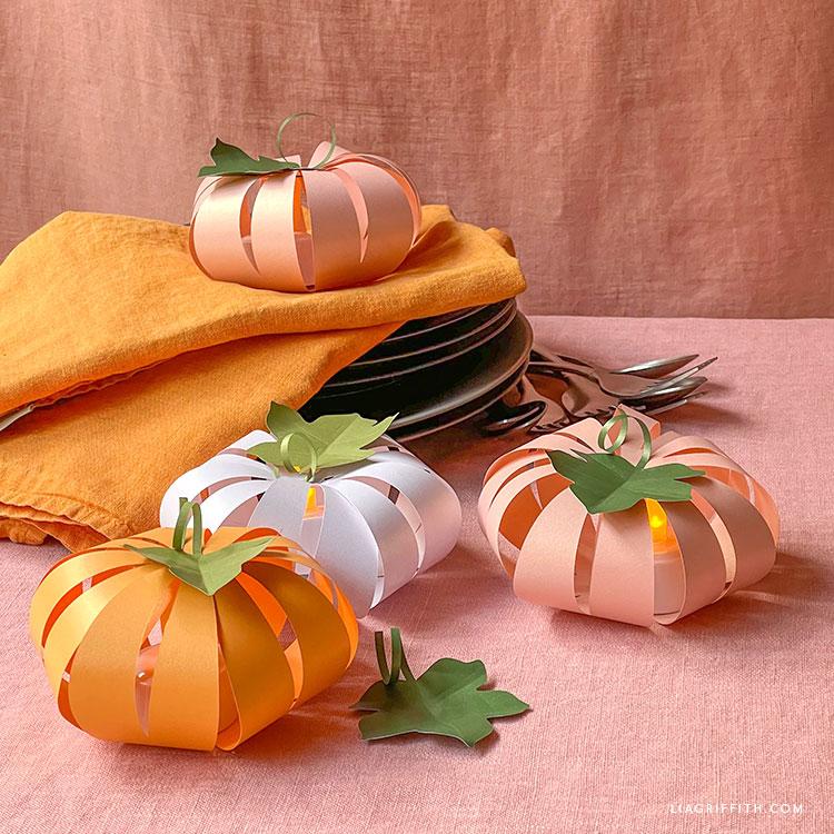 paper pumpkins with LED tea lights