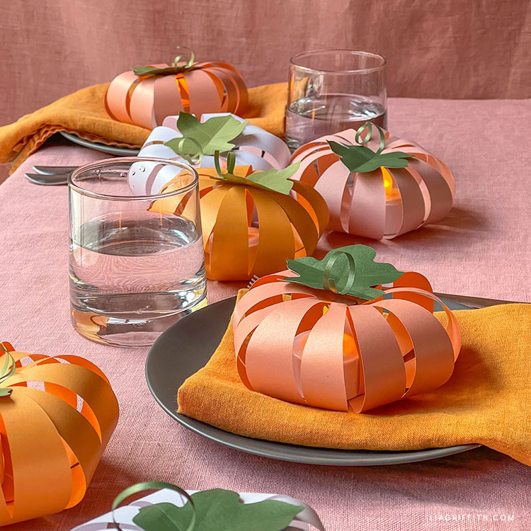 DIY frosted paper pumpkin lanterns