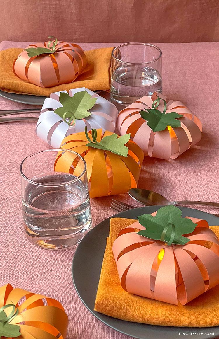 frosted paper pumpkin lantern