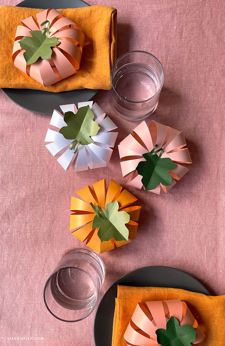 frosted paper pumpkins for fall table
