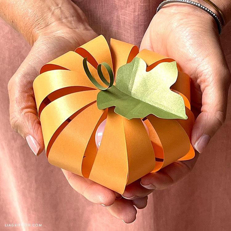 handmade frosted paper pumpkin