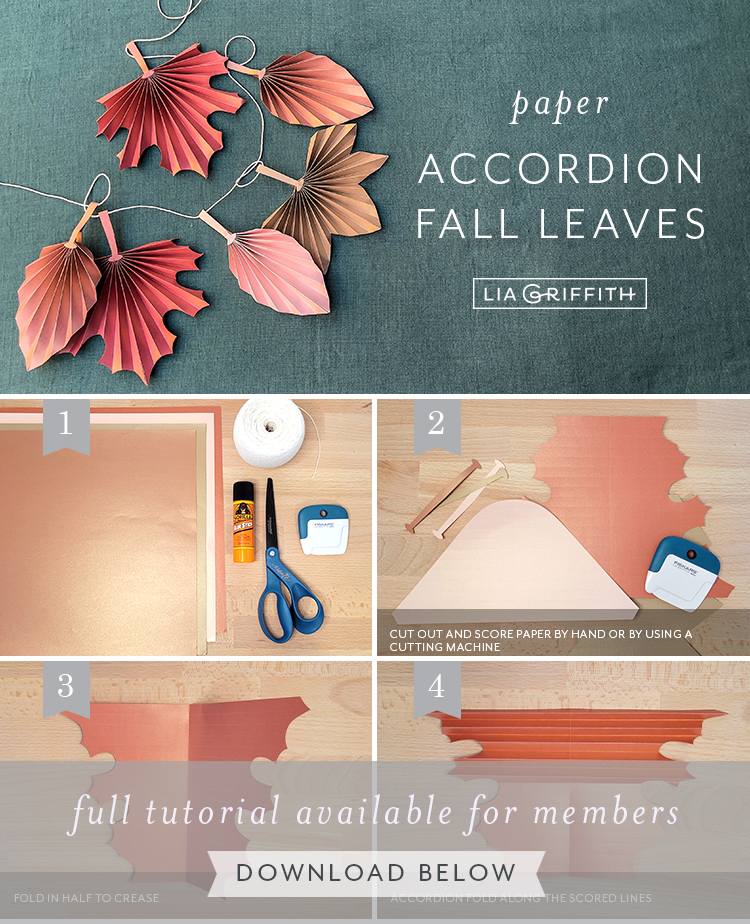 paper accordion fall leaves tutorial by Lia Griffith