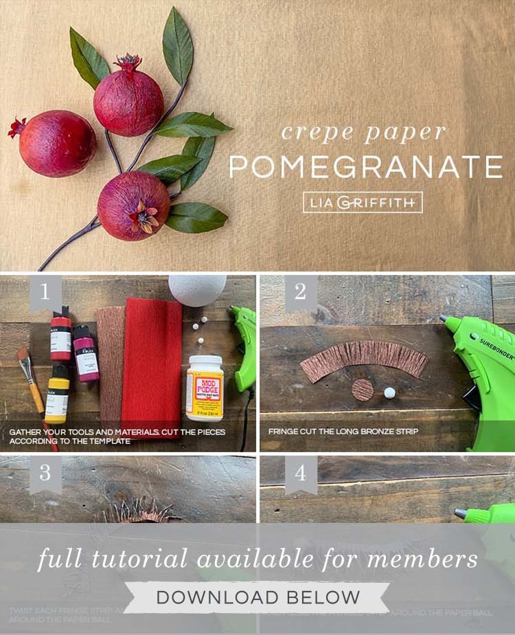 crepe paper pomegranate tutorial by Lia Griffith