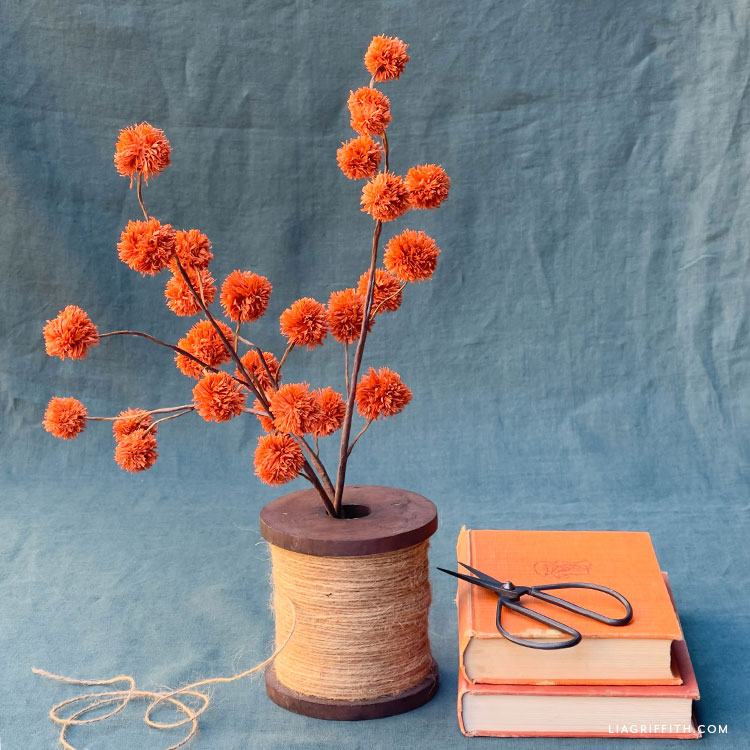 DIY orange crepe paper chestnut branch