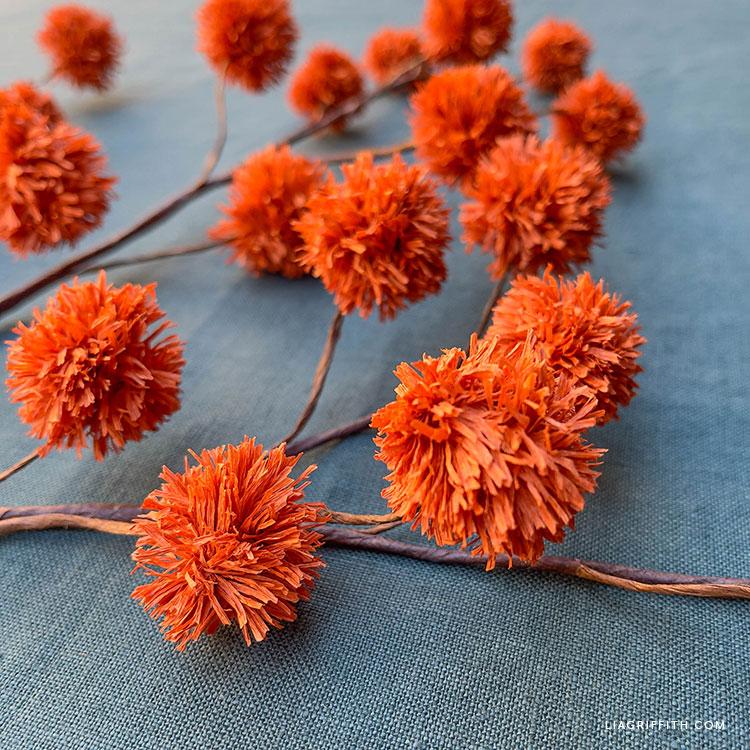 orange crepe paper chestnut branch