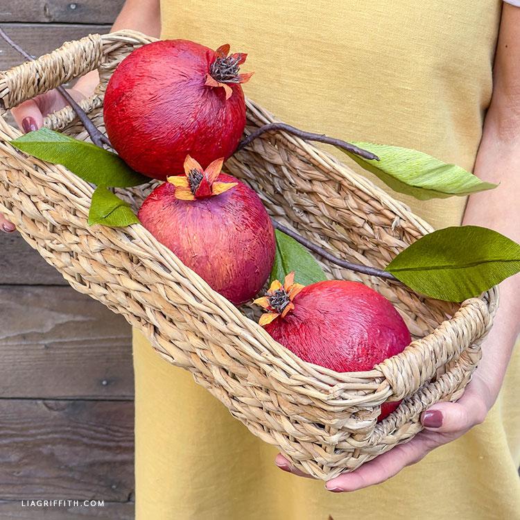handmade crepe paper pomegranates