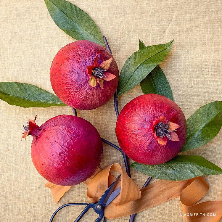 DIY crepe paper pomegranates