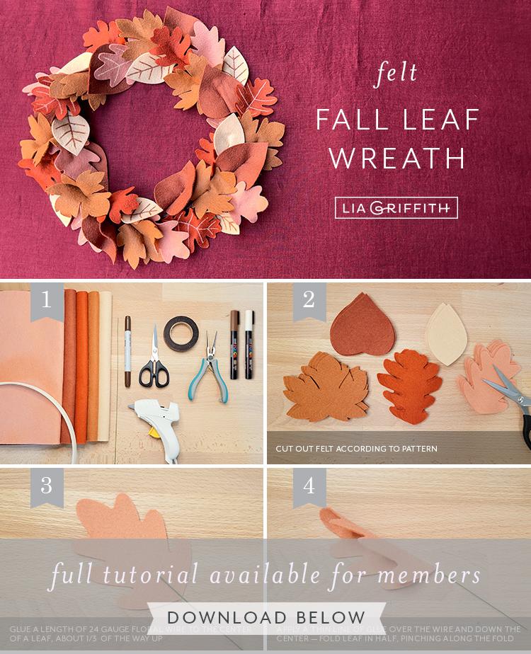 felt fall leaf wreath tutorial by Lia Griffith