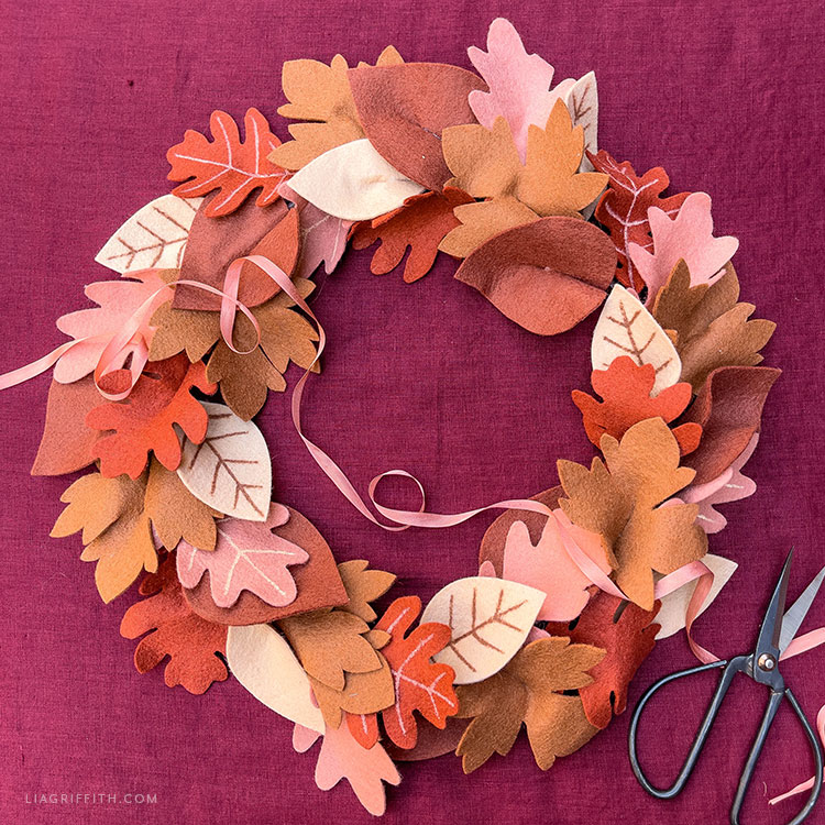 handmade felt fall leaf wreath