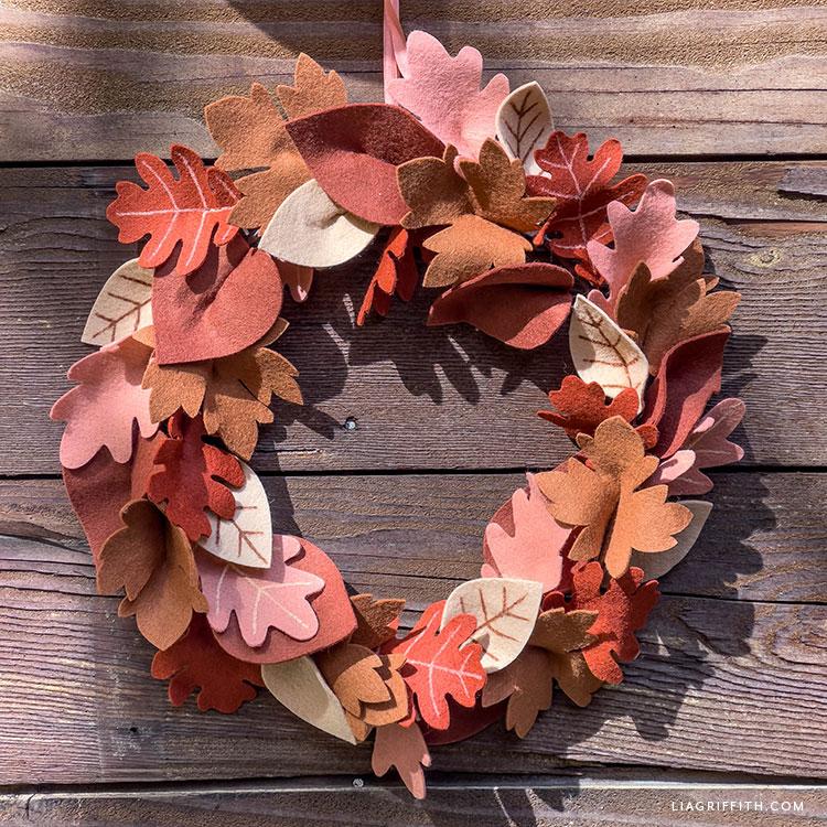 felt fall leaf wreath