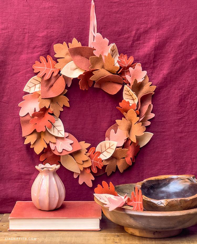 DIY felt fall leaf wreath