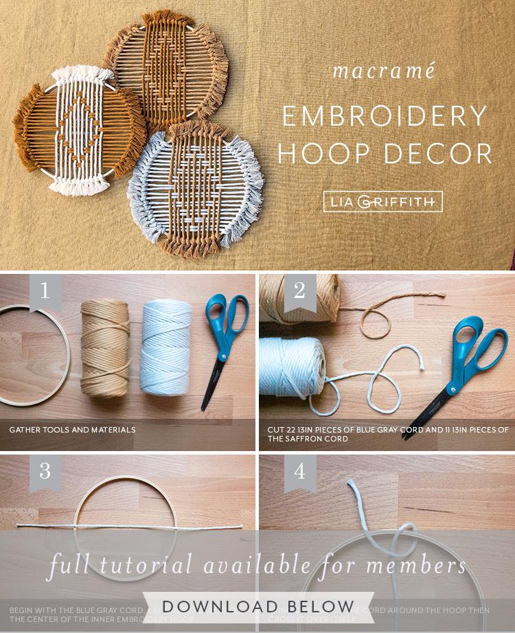 Tutorial de decoração de aro de bordado macramé por Lia Griffith