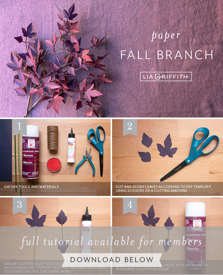 paper fall branch tutorial by Lia Griffith
