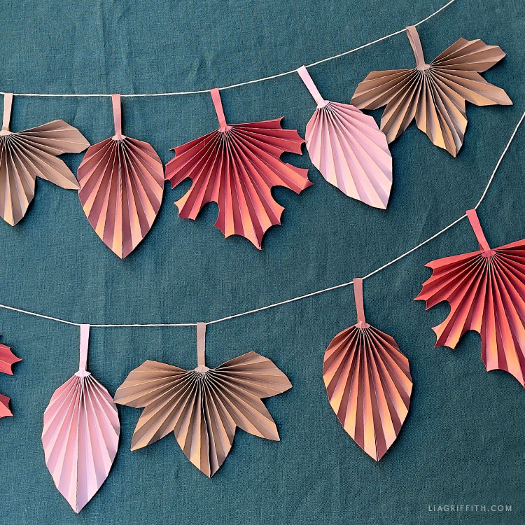 DIY frosted paper accordion fall leaves banner