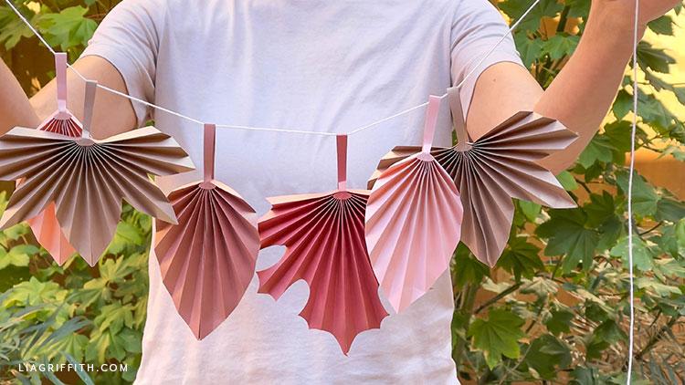 handmade paper accordion fall leaves
