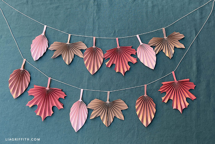 frosted paper accordion fall leaves banner