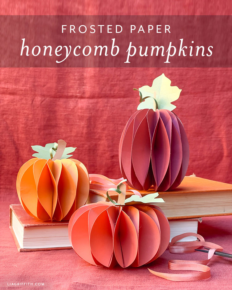 frosted paper honeycomb pumpkins