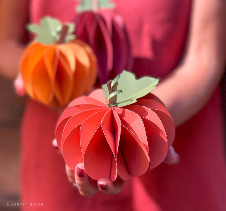 handmade frosted paper honeycomb pumpkins