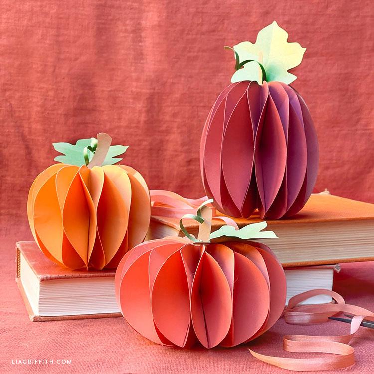DIY frosted paper honeycomb pumpkins