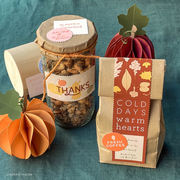 paper pumpkins and printable labels for fall food gifts