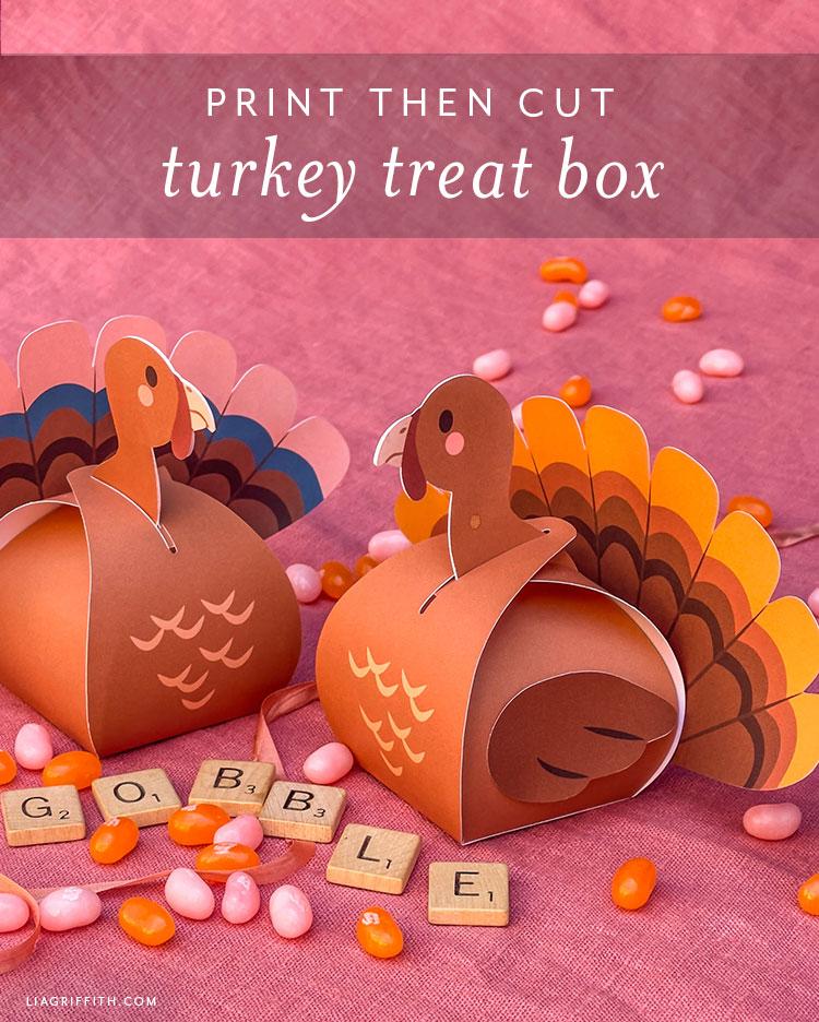 Print Then Cut turkey treat box